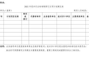 2021年花卉行业标准制修订立项计划建议表